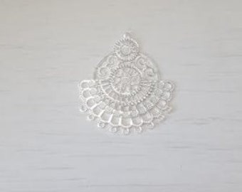 Silver filigree chandelier part