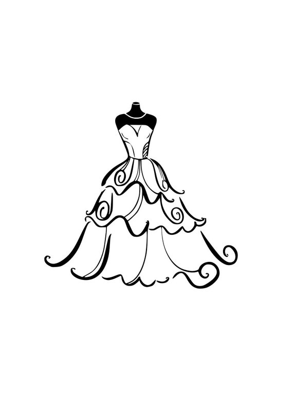 WEDDING Dress svg Bride outline SVG Digital Download Cuttable Files Cricut  Silhouette