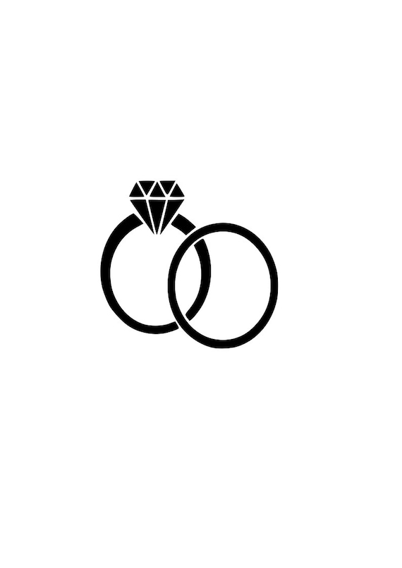 Wedding Rings Svg Bride Groom Outline Svg Digital Download Etsy