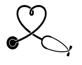 Stethoscope svg heart shape outline laptop cup decal SVG Digital Download Cuttable Files Cricut Silhouette