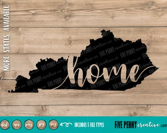 Kentucky Home State (SVG, PNG, EPS, Cricut, Silhouette, cutting file, vector file)  Love Kentucky | Old Kentucky Home | Bluegrass State svg