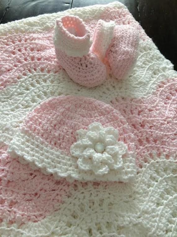 Baby Girl Handmade Gift Pink And White Crochet Blanket Etsy