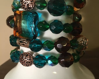 Brown and Teal Wrap Around Glass Bead Bracelet