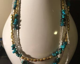 Multi strand Necklace Turquoise Semiprecious Stones With Brass
