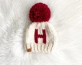 Monogram Chunky Knit Toque Initial Knit Hat Pom Pom Beanie Baby Toddler Child Adult