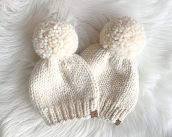 Mom and Me Knit Hats / Matching Chunky Knit Toque Set / Cute Knit Beanies / Pom Pom Hats / Mom and Baby Hats
