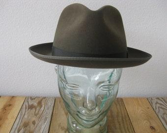 499d03f92d1 Vintage Original STETSON Brown Fedora Hat Turned Brim Size 7 in Original Box
