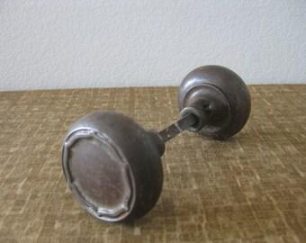Set Pair Antique Decorative Metal Door Knobs Doorknobs