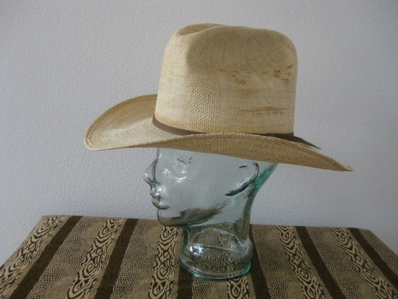 346338576 Stallion by STETSON Straw Western Ware Cowboy Ranch Hat Size 7 1/4 Hat w/  Character