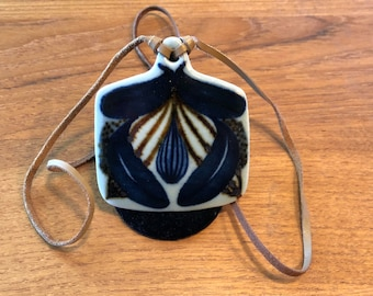 Ursula Munch-Petersen faience pendant, 29-inch leather cord, Denmark, 1960s or 1970s, Danish modern necklace