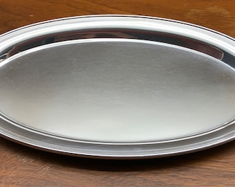 Gorham sterling silver oval tray 124, midcentury