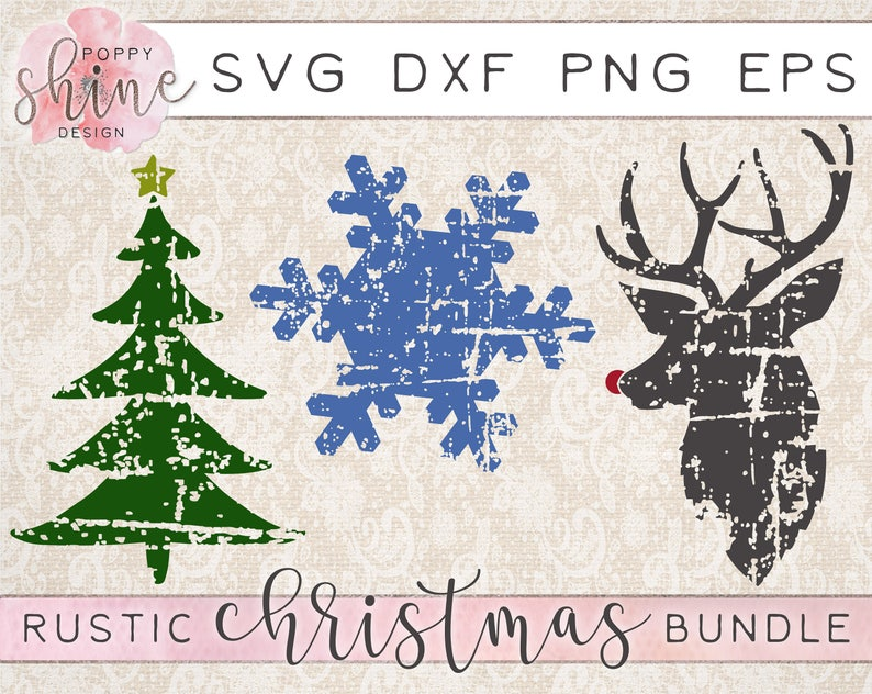 Rustic Christmas Bundle Of 3 Svg Dxf Png Eps Cutting Files For Etsy