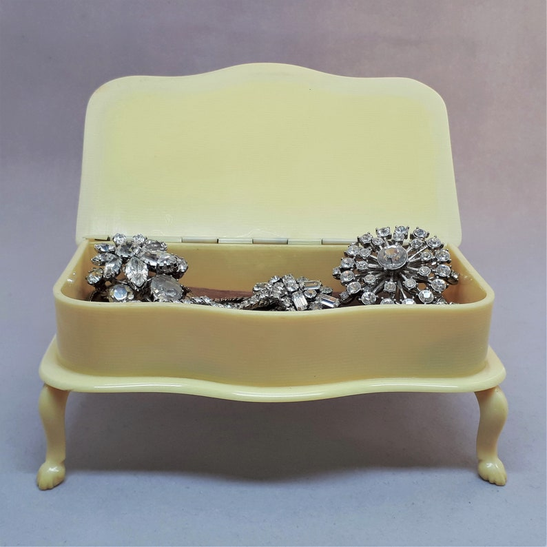 Celluloid Trinket Carved Paw Feet French Ivory Piano Antique 1920s Jewelry Box
