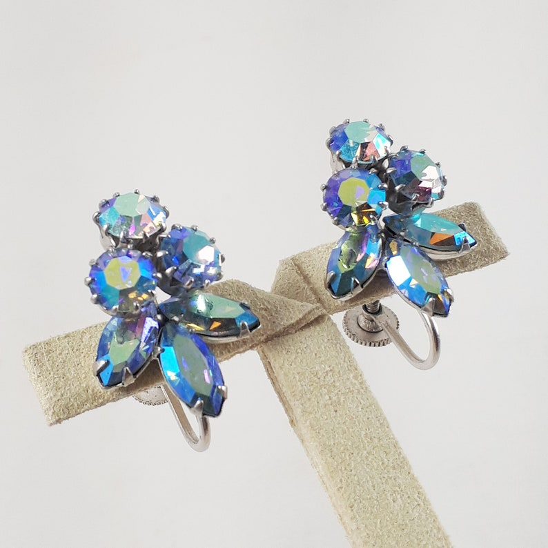 Aquamarine Blue Aurora Borealis Vintage Sherman Rhinestone Earrings