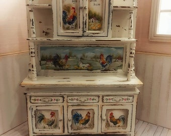 Roosters cupboard. Dollhouse Furniture.
