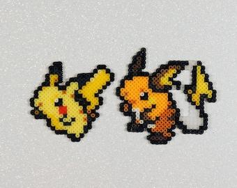 Pikachu, Raichu – bead sprites – pokemon art – perlers – perler bead art – perler beads – nintendo – kanto starters – pokemon gift – magnet