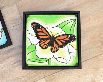 Monarch Butterfly In Porcelain. Gift for mom, friend, sister. Wall art.