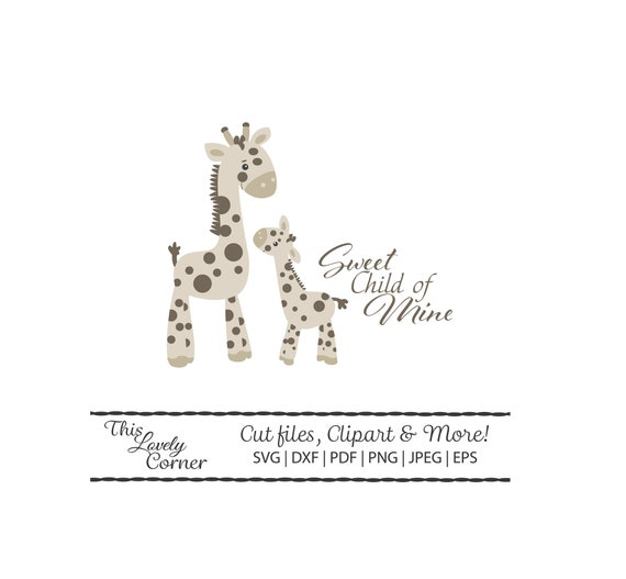 Giraffe Baby And Mama Instant Printable Cricut Silhouette Etsy