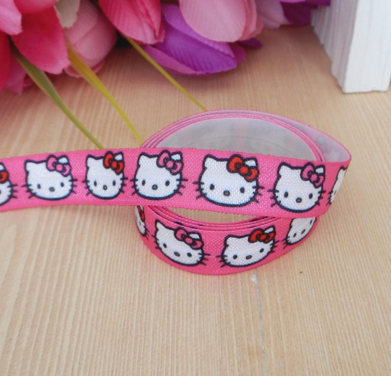 58 Cartoon Figure~~Hello Kitty fold over elastic~FOE headband elastic for making diy hair ties~~foldover elastic by the yard