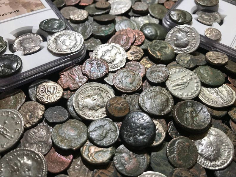 b2ade6125d149 Ancient Old Coin Estate Lot ~ Roman Greek Byzantine ~ Bronze Silver Gold ~  Hoard Premium Collection Sale