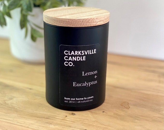Lemon + Eucalyptus All Natural Soy Candle 8oz