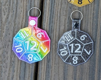 Dice Keychain, 12-Sided die, D&D Keychain, 12-sided dice, Board Game Geek, Board Gamer Gift, Dice Gift, Role Playing, Gamer Gift, Geek Gift