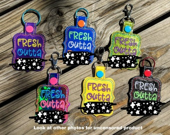 Fresh Outta F's Keychain, F You Keychain, Mature Keychain, Party gift, Snarky gift, Curse word, Cuss word, Gag Gift
