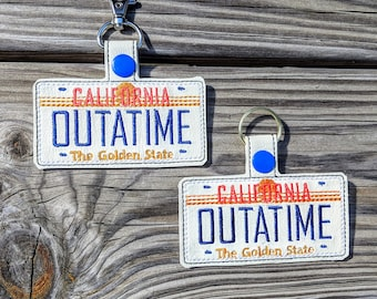 OUTATIME Keychain, Back to the Future Keychain, California License Plate, BTTF Gift, BTTF Keychain Back to the Future, Flux Capacitor, McFly