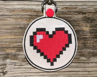 Heart Keychain, Heart KeyFob, Gamer Keychain, Gamer Charm, Heart Charm, Heart Accessory, 8 Bit Keychain, 8 Bit Accessory, Classic Gamer