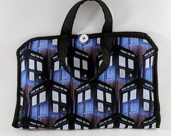 Doctor Who Crochet Hook Bag, Doctor Who Knitting Needle Bag, Tardis Bag, Craft Organizer, Blue Bag, Knitting Needle Case, Crochet Hook Case
