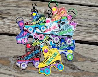Roller Skate Keychain, Roller Derby keychain, Roller Skate Charm, Derby Girl, Rainbow Glitter, Rollerskate, Rollerskating, Roller Skate Snap
