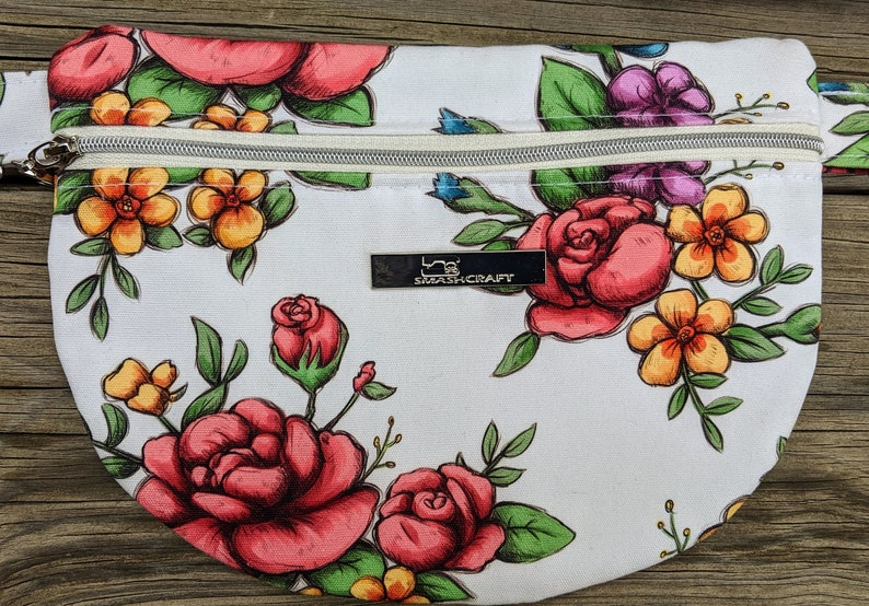 Floral Waist Bag Knitorious Fabric Floral Fanny Pack White image 0