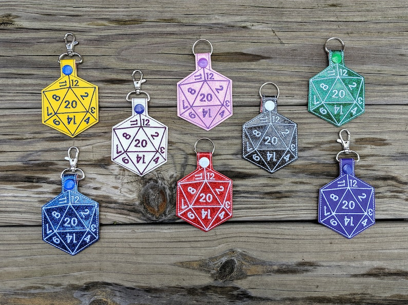 Dice Keychain 20-Sided die Dodecahedron D&D Keychain image 0