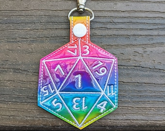 Dice Keychain, 20-Sided die, Dodecahedron, D&D Keychain, 20-sided dice, Board Game Geek, Board Gamer Gift, Dice Gift, Critical Fail