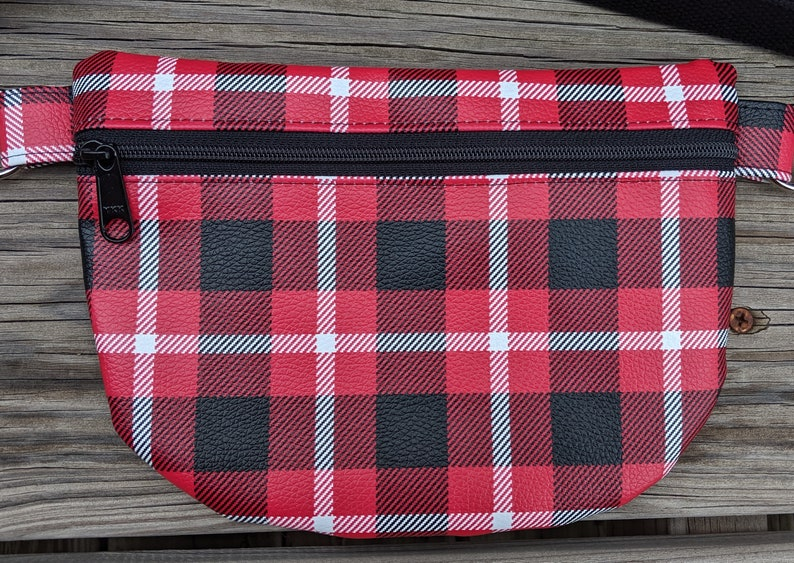 Red Plaid Waist bag Red Fanny Pack Red Crossbody Bag image 0