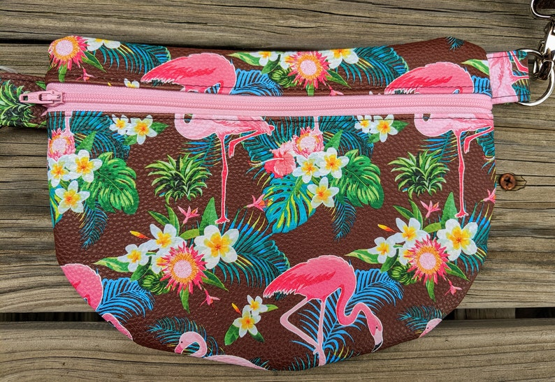 Flamingo Waist Bag Flamingo Fanny Pack Palm Tree Accessory image 0