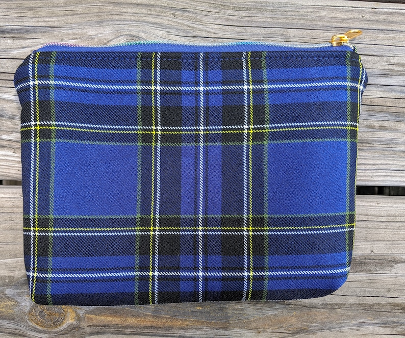 Blue Plaid bag Plaid Pouch Cosmetics Bag Zipper Bag image 0