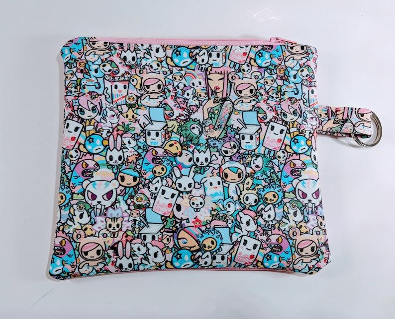 Anime bag Vinyl Pouch Cosmetics Bag Zipper Bag Keychain image 0