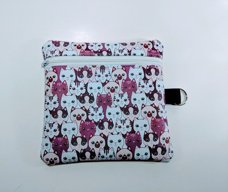 Cat bag Vinyl Pouch Cosmetics Bag Kitten Bag Zipper Bag image 0