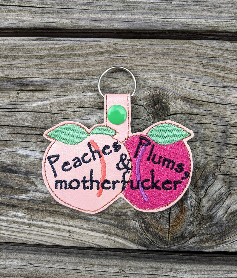 Peaches Plums Keychain The Magicians Gift Key Accessory image 0
