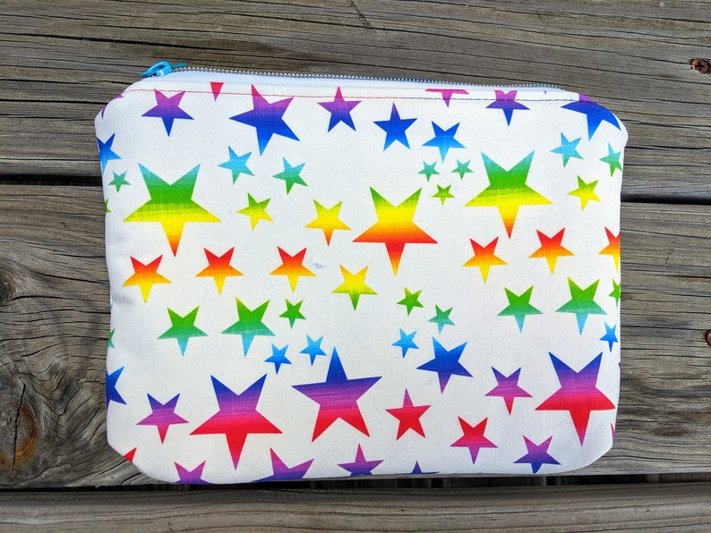 Rainbow stars bag Rainbow Pouch Cosmetics Bag Zipper Bag image 0