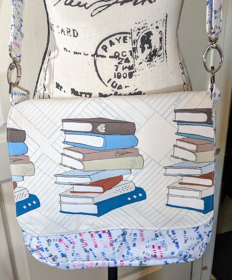 Library Card Messenger Bag Book Purse Zippered Purse Book image 0