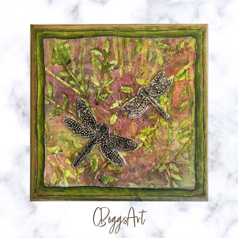 Dragonfly acrylic art on canvas  8x8 inch mixed media collage image 0