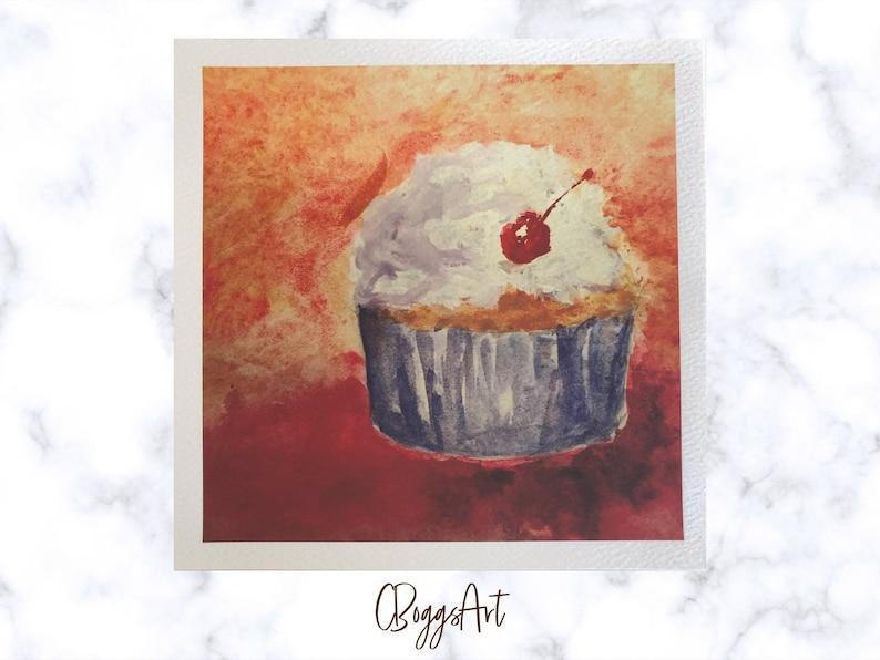 Cupcake fine art giclee print  unframed 8x8 inch archival image 0