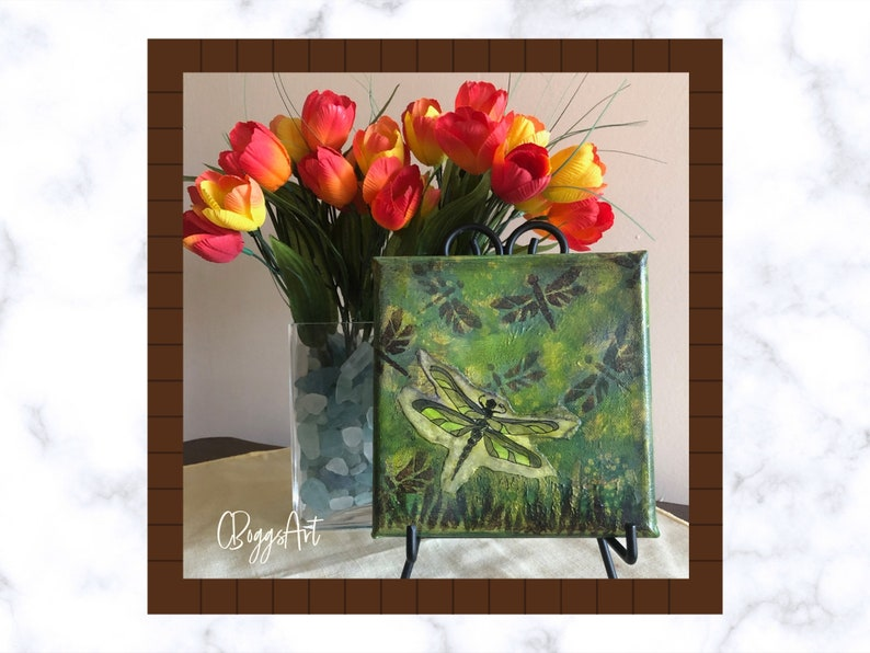 Green dragonfly mixed media painting on canvas  6x6 unframed image 0
