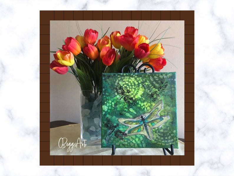 Green dragonfly mixed media painting on 6x6 inch canvas  image 0