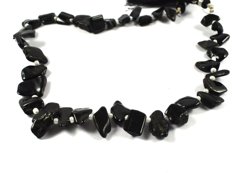 #SJ059 12 x 9 mm to 7 x 6 mm Smooth Briolettes Rough Beads 12 Inch Strand 1 Strand Natural Tourmaline Rough Beads
