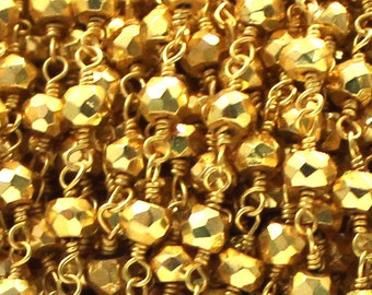 10 Feet 3 - 3.5 mm Faceted Gold Pyrite Pyrite Rosary Chain In 24 k Gold Plated Wire Wrapped Beaded Chain In Gold Wire