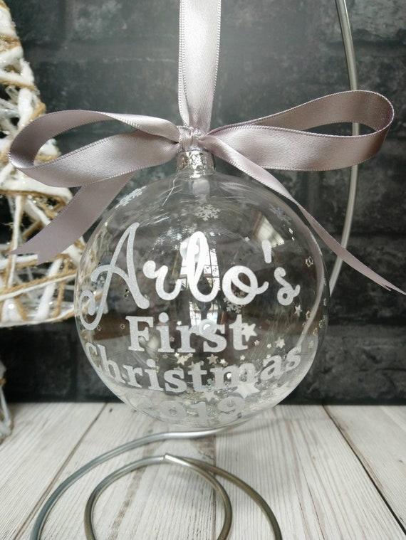 10cm Silver Diamante /& Glitter Christmas Present Bauble