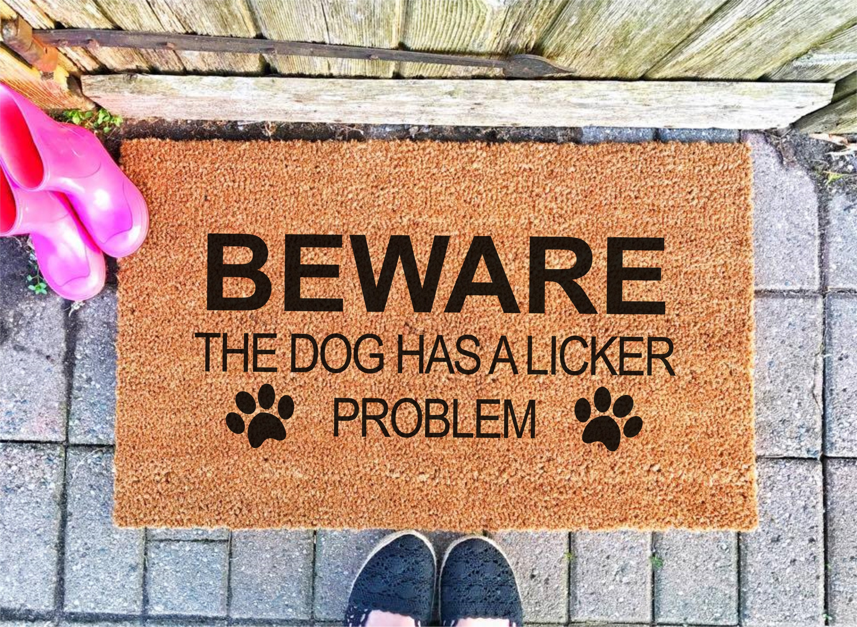 NEW Beware Dog Cant Hold Licker Doormat FREE SHIPPING